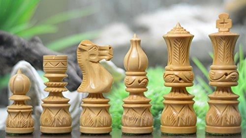Indische Mogulreichserie : Handgeschnitzte Schachfiguren aus Sheeshamholz und Buchsbaumholz - König 95 mm, schach, Schachspiel