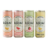 GOJAI Organic Caffeinated Sparkling Water - 12 Can Variety Pack in 12 Oz Cans - Natural Carbonated Water - Zero Sugar, Additives, Or Preservatives - Seltzer Water - Vegan, Gluten-Free, Deliciously Flavored Bubbly Water