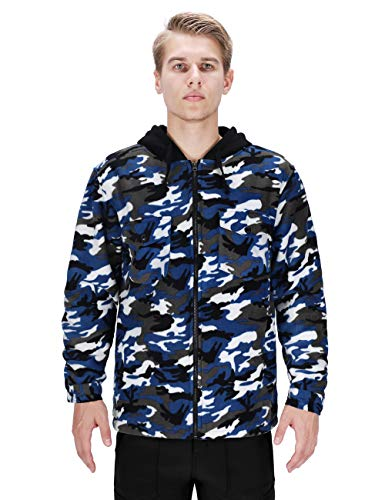 DISHANG Men's Hooded Fleece Jacket Warm Coat Full-Zip Military Army Camo Outerwear Tactical Outdoor Sweatshirts (Blue, M)