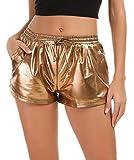 Tandisk Women's Yoga Hot Shorts Shiny Metallic Pants with Elastic Drawstring (Brown, S)