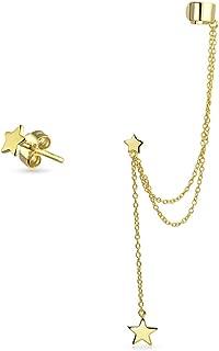 USA Patriotic Star Cartilage Ear Lobe Chain Ear Cuff Clip Wrap Stud Helix Earring Set 14K Gold Plate 925 Sterling Silver