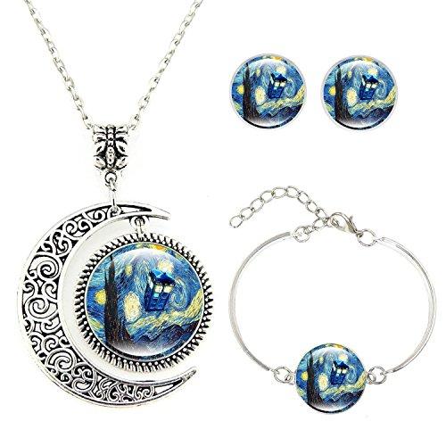 Moon Pendant Tardis Starry Night Necklace Van Gogh Jewelry Personalized Necklace Bracelet Earrings Jewelry Set