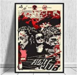 Fight Club Pulp Fiction Póster de película vintage Pintura en lienzo Arte Foto impresa Sala de estar Decoración interior Regalo (60X90Cm) -24x36 Pulgadas Sin marco