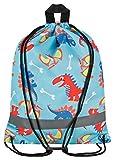 Aminata Kids Kinder-Turnbeutel Dinosaurier Dino 34-x-43-cm Jungen, Mädchen - hell-blau, bunt - Nylon - Sicherheits-Reflektor, verstärkte Nähte, kein Chemiegeruch & rutscht Nicht durch Brustclip