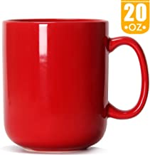 20 OZ Large Coffee Mug, Smilatte M016 Plain Ceramic Boss Cup with Handle for Dad Men, Red