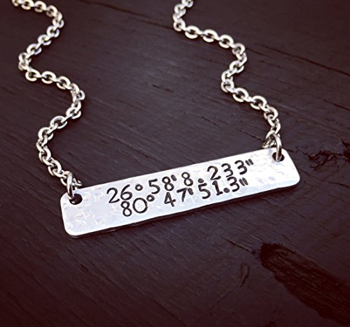 Custom Coordinates Bar Necklace | Latitude Longitude Jewelry | Location GPS Coordinates Gift | Wedding Or Anniversary Jewelry Gift For Her