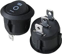 TWTADE / 8 piezas negro ON / OFF / ON 3 pines 3 posiciones SPDT redondo a presión con botón pulsador, interruptor basculante AC 250V / 10A 125V / 12V (1 año de garantía de calidad) XW-602AB3