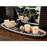 XL Teelichthalter-Set 51cm auf Echtholztableau inkl. Raumduft-Potpourri Deko Kerzenhalter Windlicht Herbstdeko Glas -