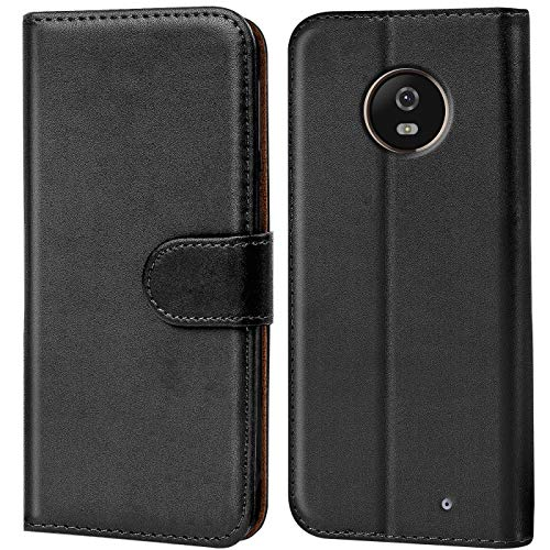 Verco Moto X4 Hülle, Handyhülle für Motorola Moto X4 Tasche PU Leder Flip Hülle Brieftasche - Schwarz