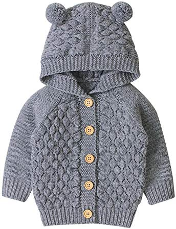 Mornyray Baby Boy Girl Bear Ear Sweater Jackets Winter Long Sleeve Knitted Sweatshirts Button product image