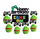 25 PCS LaVenty Black GAME ON Cupcake Toppers Video Game Cupcake Toppers set Gaming Party Decoration Boys Birthday Party Banners for Game Theme Party
