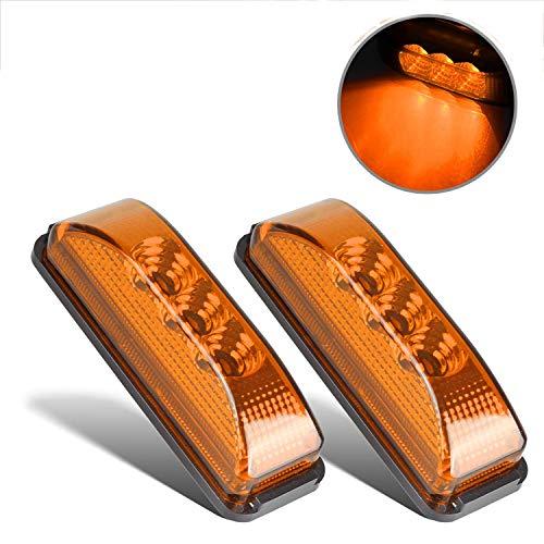 "Partsam 2PCS 3 LED Truck Trailer Front Rear LED Side Marker Lights indicator Lamp Sealed & Waterproof Surface Mounted Installation Amber 3.9"""