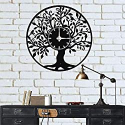 DEKADRON Life Tree Unique Design Metal Wall Clock - Metal Wall Art Works - Metal Wall Decor Home Office Decoration Modern Industrial Silent Movement (20 W x 20 H/51x51cm)