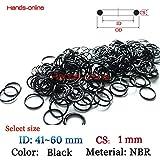 """Ochoos NBR Option ID 41 42 43 44 45 46 47 48 49 50 51 52 53 54 55 56 57 58 59 60mm x CS 1mm/0.0395"""" Rubber O Ring Seal Sealing Black - (Thickness: 1mm, Inner Diameter: 45mm)"""
