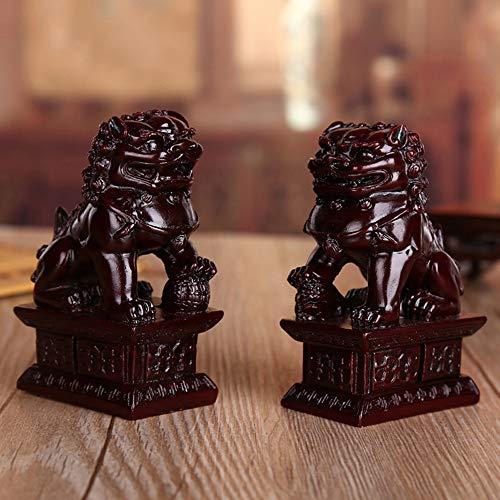 Feng Shui Riqueza Porsperity par de Beijing Fu foo Perros estatuas Ward Apagado Evil energía, Feng Shui Decor