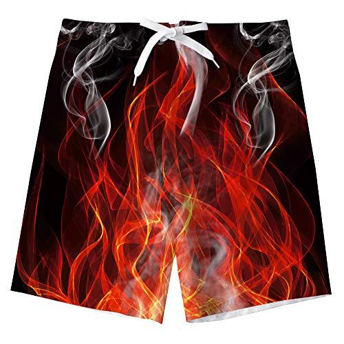 AIDEAONE Kinder Jungen Badehose mit Mesh-Futter Schnell Trocknend Feuer Rot Drucken Shorts Strandhose
