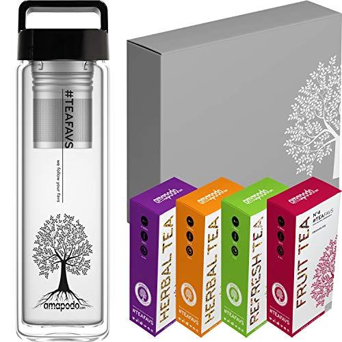 amapodo - Teekanne Tee Geschenkset - Geschenke für Männer - Tea Sortiment Set - Geschenk Teebox groß - Kräutertee, Früchtetee [4x Teesorten = 480g] Geburtstagsgeschenk für Frauen