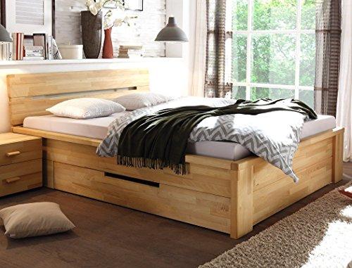 expendio Massivholzbett Caspar 180x200 Kernbuche geölt Stauraumbett Doppelbett Ehebett Holzbett Bett Schlafzimmer