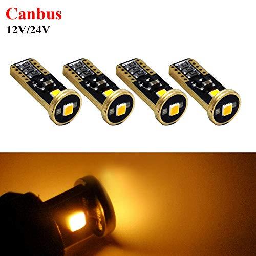 Ruiandsion T10 194 168 Ampoules LED Canbus non polarité Super lumineuses 12-24 V pour intérieur de voiture, carte dôme de courtoisie pour porte d'immatriculation, couleur ambre (lot de 4)