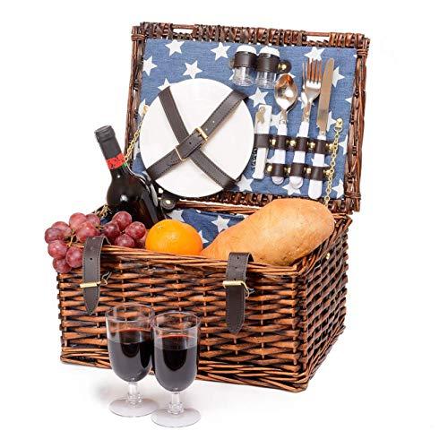 Picknickkorb aus 2 Personen im britischen Vintage-Stil mit natürlichem Weidengeflecht und blau gemustertem Segeltuchfutter - inklusive Keramikteller, Gläser, Besteck, Flaschenöffner und Zubehör