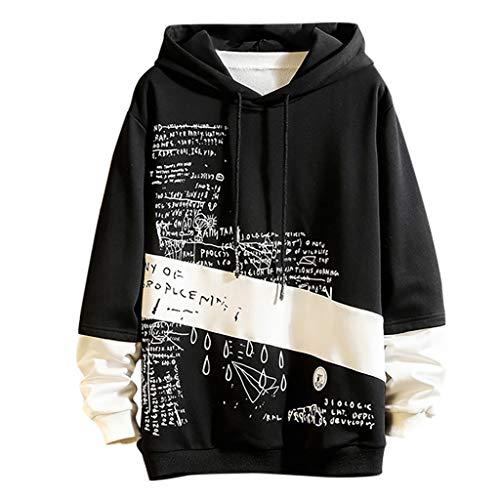 ZODOF Sudadera Hombres con Capucha Casual Moda Impresión Patchwork Capucha Mangas largas Tallas Grandes Sudadera Tops Hoodie Sweatershirt Sudaderas Hombre,Negro