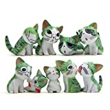 9 Pcs Cat Figurines, Chi s Sweet Home Cat Animal Collection Toy for Miniature Fairy Garden, Cake Topper Decoration (Green)