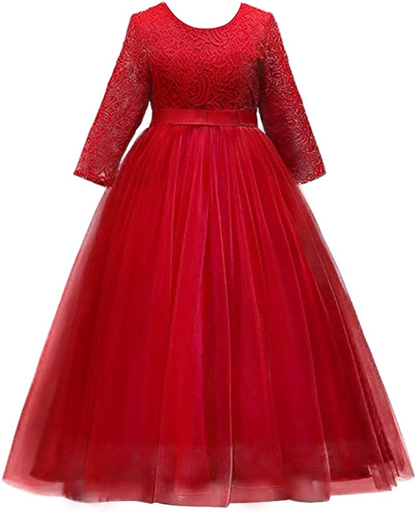 IZKIZF Kids Girls Bridesmaid 3/4 Sleeves Floor Length Tulle Vintage Lace Dress Birthday Pageant Party Evening Gown