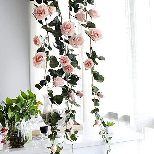 Dewdropy Single-fit - Flores artificiales de 1,8 m australianas rosas para boda, decoración de casa falsas, rosa