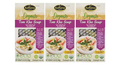 Sutharos ORGANIC Coconut Tom Kha Soup Thai Meal Kits (3 Pack) VEGAN, GLUTEN FREE, Easy to Cook, Comes with Organic Tom Kha Seasoning, Chili Paste, Herbs, and Spices (Tom Kha Soup)