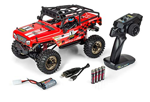Carson 1:12 Mountain Warr.Sport 2.0 100% RTR rot, Ferngesteuertes Auto, RC Fahrzeug, inkl. Batterien und Fernsteuerung, Offroad-Buggy, 500404197