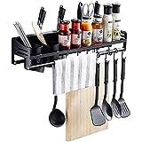 Muebles para el hogar Exquisito estante multifuncional para almacenamiento de pared de cocina con tapa para ollas con portabotellas Colgador para cuchillos con 10 ganchos Organizadores para ollas c