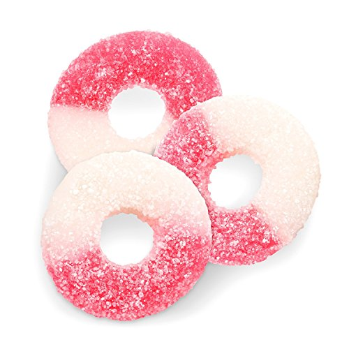 FirstChoiceCandy Albanese Gummi Watermelon Light Pink & White Gummy Rings 2 LB