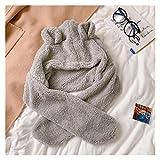 NENGDOU Sombrero de Dibujos Animados Oso Orejas Sombrero Bufanda Hembra Invierno Peludo cálido Bufanda Linda niña de Dos Piezas Peluche Sombrero de Sombrero Regalos (Color : Gray)