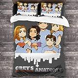 AGYGCW Grey's Anatomy - Juego de cama 100% microfibra, funda nórdica con temática médica y películas románticas, regalo para parejas (gris V3,220 x 240 cm + 80 x 80 cm x 2)
