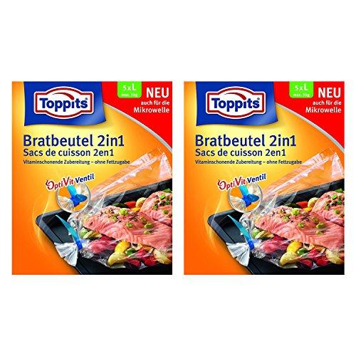 Toppits Bratbeutel 2in1 Large (35 x 43cm), 2er Pack (2 x 5 Beutel)
