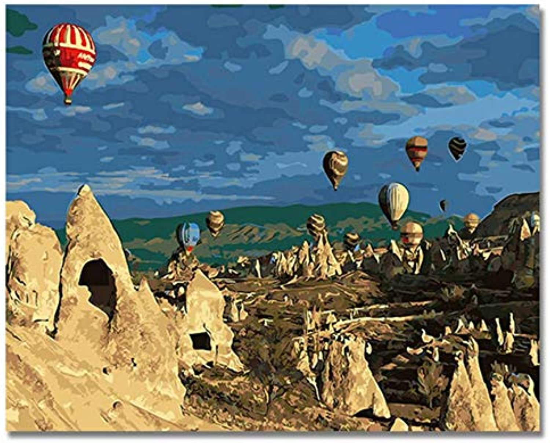 Tot Air Balloon Balloon Balloon Bilder Malen nach Zahlen DIY Digital Türkei Stil Wand Öl Leinwand Kunst Färbung nach Zahlen Artwork Mit Rahmen 40x50cm B07Q4JWCZH | Perfekte Verarbeitung  c32f4e