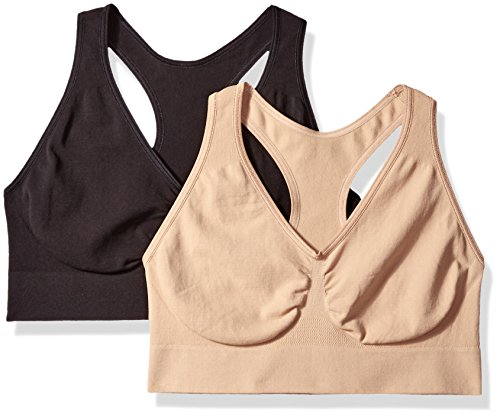 Hanes Women's Ultimate Comfy Support Wirefree 2 Pack, Black/Nude, 2X