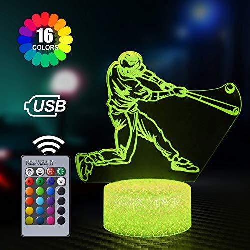 Baseball 3D Illusion Lamp, 3D Night Light for Kids, 16 Colours Changing Acrylic LED Night Light for Boys as on Birthdays or Holidays (Baseball)