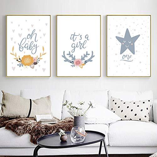 Jzxjzx Meisjes kinderen slaapkamer nachtkastje wanddecoratie schilderij Cartoon Anime schattige kern schilderen zonder lijst