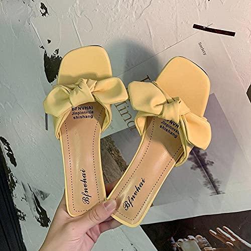 MISS KANG Sandalias de ducha para casa, puntera abierta alta con sandalias, lazos y semi-zapatillas-verde claro_40, zapatillas de verano suaves para mujer Qingchunw (color: amarillo, tamaño: UK6.5)