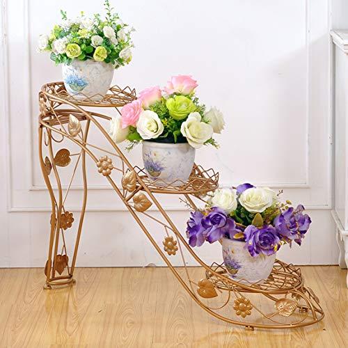 LRW ijzeren bloempot, Gloden meerlaags bloempotframe, binnen- en woonkamer-balkon buitenshuis, hoge hakschoenen, creatief bloemenframe.