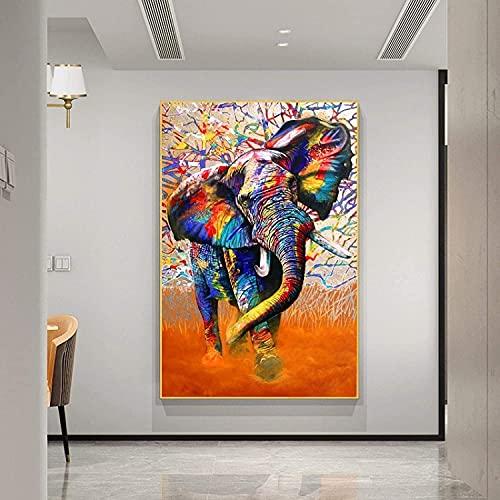 XIAOMA Lienzo decorativo para pared, resumen de elefantes, póster e impresiones de...