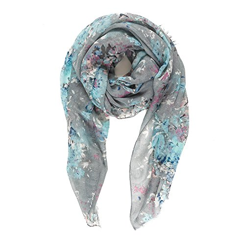 Scarf for Women Lightweight Floral Flower Scarves for Fall Winter Shawl Wrap (P077-4)