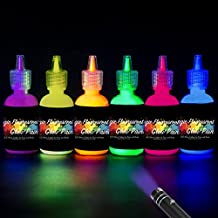 [6 Bottles, 1 oz. Each] Body Paint Glow Blacklight Reactive Neon Fluorescent Paint - Safe For Skin - Washable - Non-Toxic - Six Colors Kit