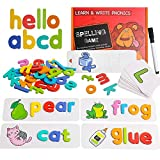 See Spelling Learning Toy Wooden Educational Sight Words Games Develops Vocabulary and Spelling Skills with 28 Double - Sided Cognitive Cards and 52 Letters Great Gift for 4 5 6 Years Girl Boy