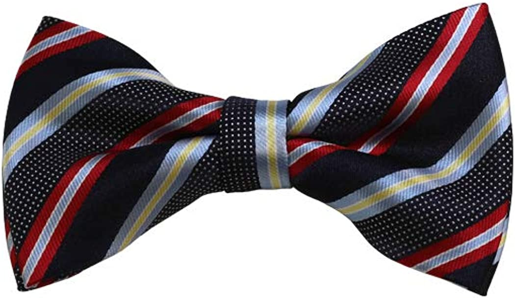 Red, Grey And Navy Striped Woven Pre-Tied Bow Tie