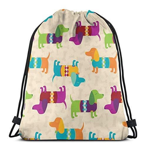 U Shape Dapper Dachshunds Tragen Argyle Sweaters Drawstring Bag Rucksack Gym Dance Bag Rucksack für Wanderstrand Reisetaschen 17×14 Zoll