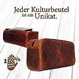 Corno d´Oro Großer Leder Kulturbeutel Damen & Herren I Männer Kulturtasche für Handgepäck & Koffer I Frauen XL Kosmetiktasche braun CD500 - 3