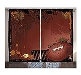 WKJHDFGB Rideaux Occultants 3D Impression Sport Rideaux Grunge Rugby Thème avec Éléments De Jeu Compétition Énergie Puissance Gagner Sport Artisan Salon Chambre Décor 215X200Cm