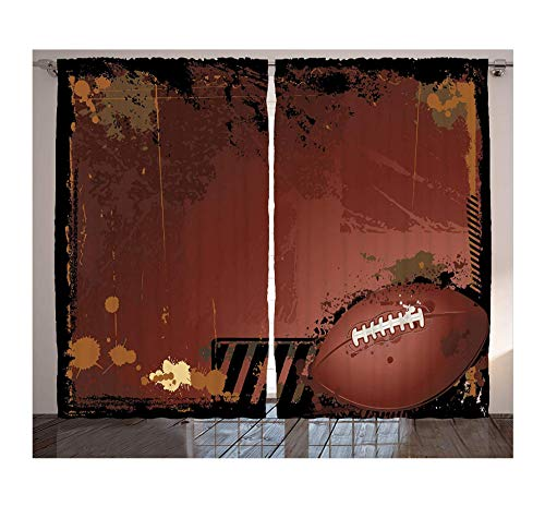 XIMDLS Sports Curtains Grunge Rugby Theme with Game Elements Competition Power Energy Win Sports Artisan